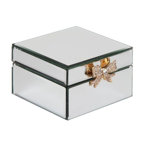 Mirror glass jewellery box with gold bow detail gift for Christmas and Birthdays